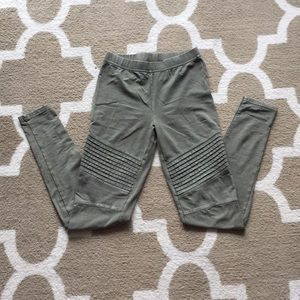 Army green detailed leggings size xs